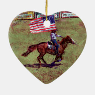 US Flag and Horse Cowgirl American Rodeo Art Ceramic Heart Decoration