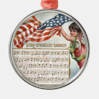 US Flag Angel Cherub Star-Spangled Banner Silver-Colored Round Decoration