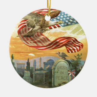 US Flag Bald Eagle Cemetery Tombstone Wreath Christmas Ornament