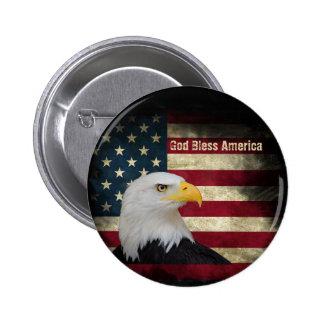 US Flag, Bald Eagle profile 2 ¼ Round 6 Cm Round Badge