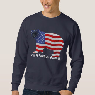 US FLAG & BEAR USA Political Animal Funny Apparel Sweatshirt
