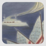 US Flag Boat Ocean 4th of July Square Stickers