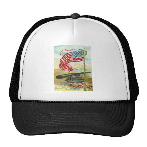 US Flag Cannon Ship Boy Flower Memorial Day Trucker Hat