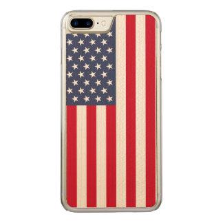 Us Flag Carved® Maple iPhone 7 Plus Bumper Case