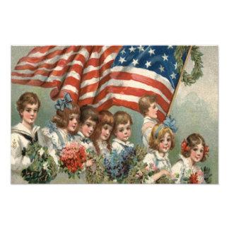 US Flag Children Flower Wreath Parade Photo Print