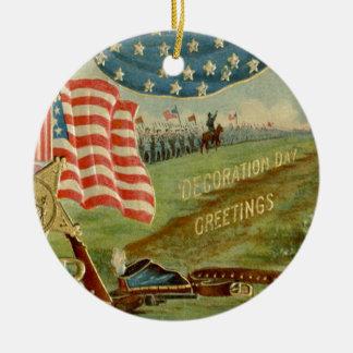 US Flag Civil War Union Medal Round Ceramic Decoration