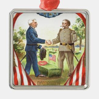 US Flag Confederate Union Civil War Silver-Colored Square Decoration
