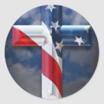 US flag cross Stickers