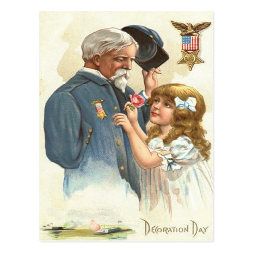 US Flag Disabled Veteran Rose Girl Post Card