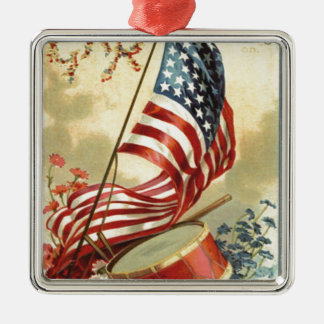 US Flag Drum Forget Me Nots Flowers Christmas Ornament