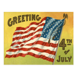 US Flag Eagle 4th of July Greeting Postcard
