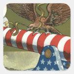 US Flag Eagle Cannon Explosion Square Stickers