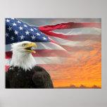 US Flag Eagle Poster