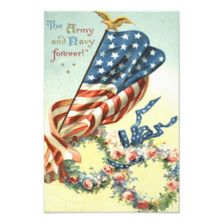 US Flag Eagle Wreath Flower Memorial Day Photographic Print