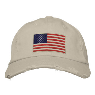 US Flag Embroidered Distressed Hat Baseball Cap