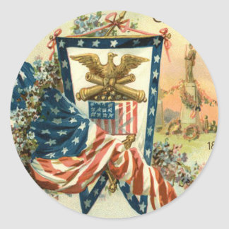US Flag Flower Civil War Eagle Memorial Day Classic Round Sticker