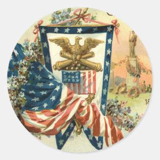 US Flag Flower Civil War Eagle Memorial Day Classic Round Sticker
