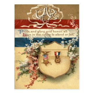 US Flag Flowers Medal Shield Postcard