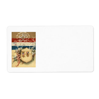 US Flag Flowers Medal Shield Shipping Label
