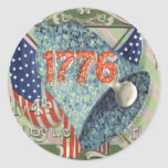 US Flag Forget Me Nots Bell Sticker