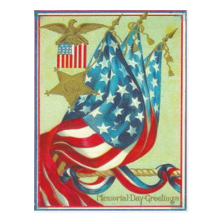 US Flag Gold Star Eagle Memorial Day Postcard