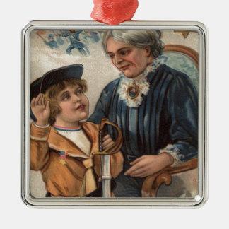 US Flag Grandmother Boy Sword Civil War Silver-Colored Square Decoration
