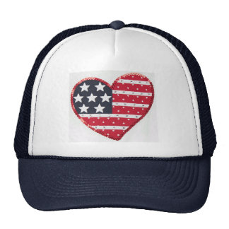 US flag heart hat
