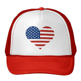 US Flag Heart Hats
