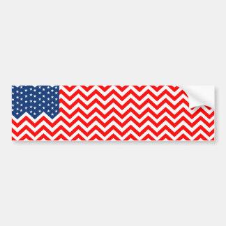 US Flag in Chevron Waves Bumper Sticker