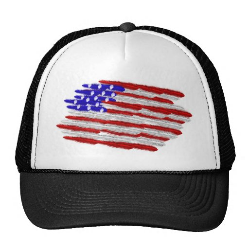 US Flag  in Feathers Trucker Hats