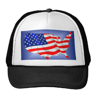 US Flag in shape of lower 48 Mesh Hats