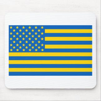 US flag in Ukrainian colors Mouse Mat