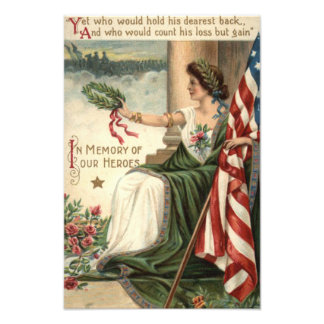 US Flag Lady Liberty Rose Soldiers Photo Print