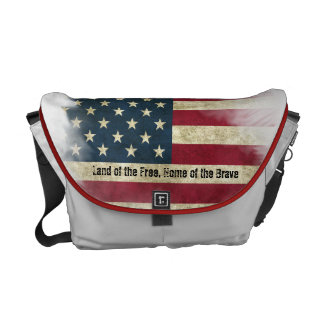 US Flag. Land of the Free, Home of the Brave Courier Bags