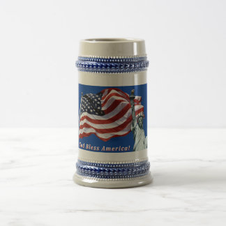 US Flag Liberty Stein - God Bless America GB Beer Steins
