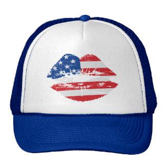 US Flag Lips Hat