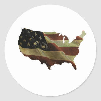 US flag/map gifts, add your background color Classic Round Sticker