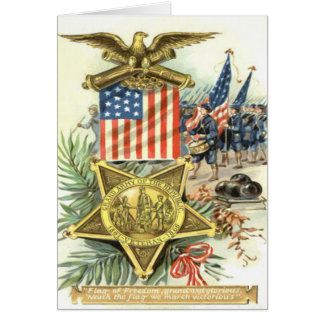 US Flag Medal Army March Eagle Cannon Greeting Card