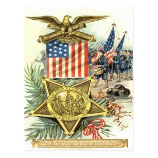 US Flag Medal Army March Eagle Cannon Postcard