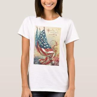 US Flag Memorial Day Flower T-Shirt
