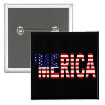 US Flag 'MERICA Button Pin