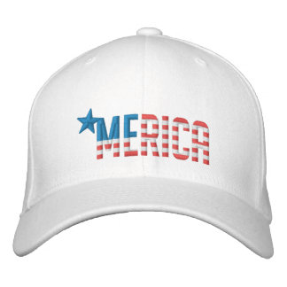 US Flag 'MERICA Embroidered Baseball Cap