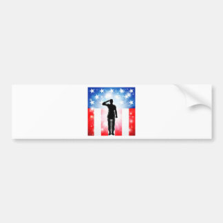 US flag military armed forces soldier silhouette Bumper Sticker
