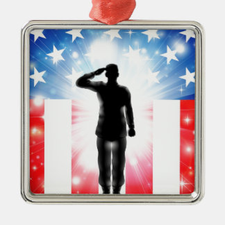 US flag military armed forces soldier silhouette Christmas Tree Ornaments