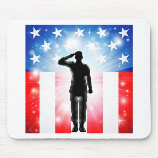 US flag military armed forces soldier silhouette Mouse Pad