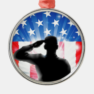 US flag military soldier saluting in silhouette Christmas Ornament