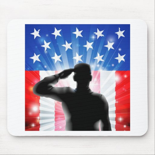 US flag military soldier saluting in silhouette Mousemat