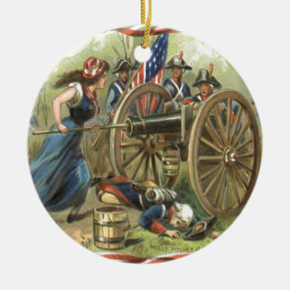 US Flag Molly Pitcher Cannon Christmas Ornament
