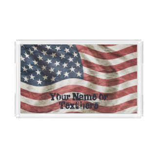 US Flag Old Glory Red, White and Blue Acrylic Tray