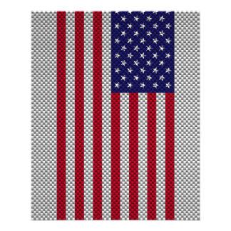 US Flag on Carbon Fiber Style Print Full Color Flyer